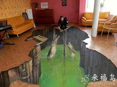 家里地板上搞一个3D画像,绝对犀利