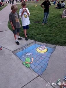 地面的3D游泳池