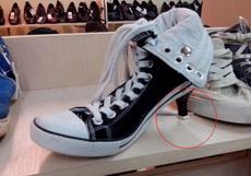 ?#26009;古?#29983;眼睛的新式高跟帆布鞋