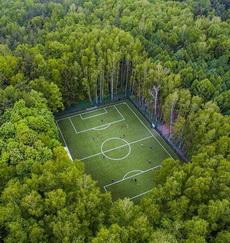 莫斯科一个在森林中的足球场