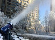 入冬以来一直不下雪,于是小区直接开始人工造雪了