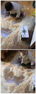 这玉米大米啥的收拾起来还能用,孩子就扔了吧