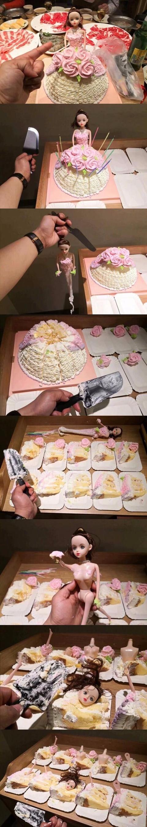 表妹过生日,让我分蛋糕我分的很公平啊为啥表妹吵吵的说要打死我?